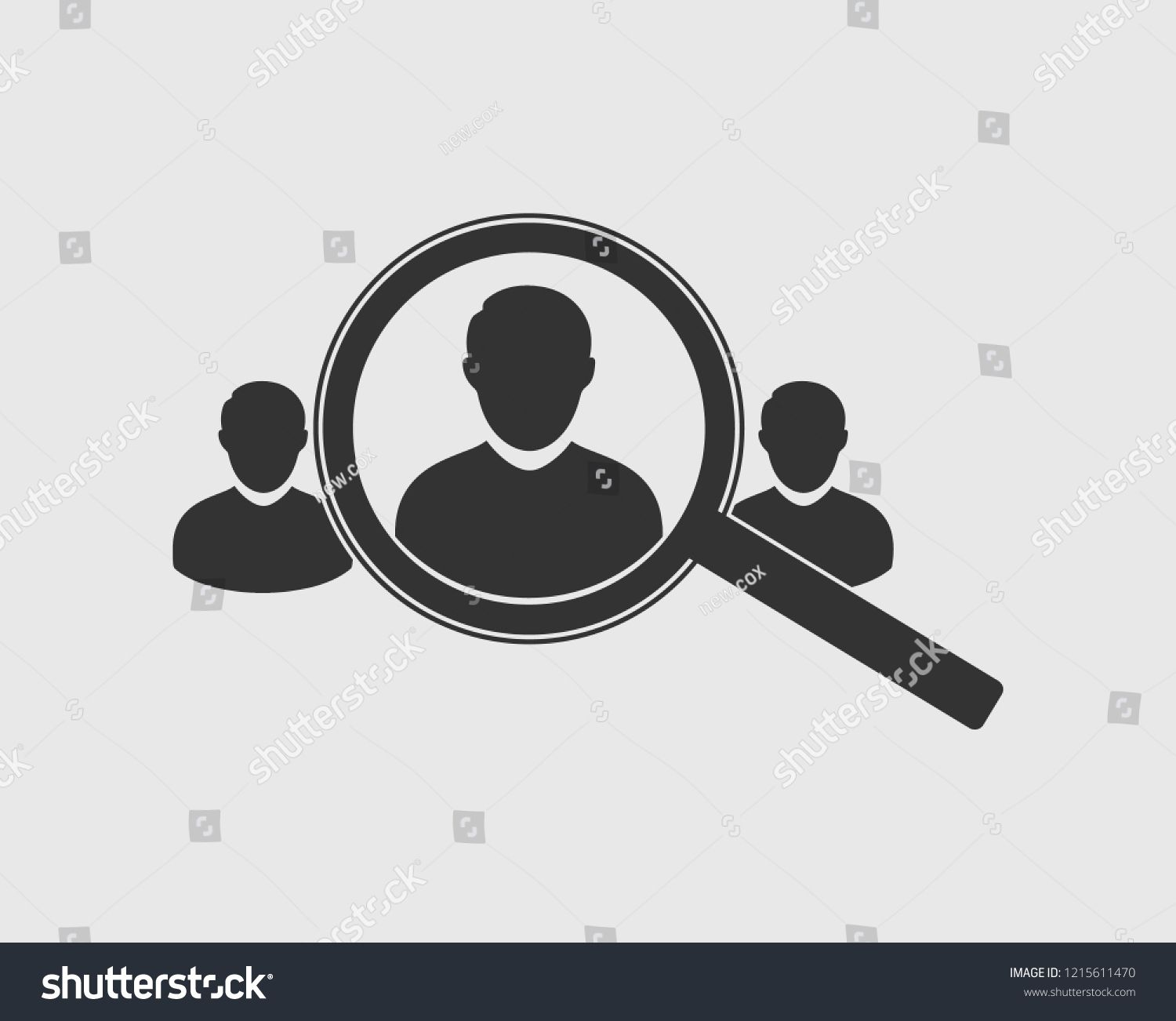 Target audience icon with magnifying glass. Flat Icon