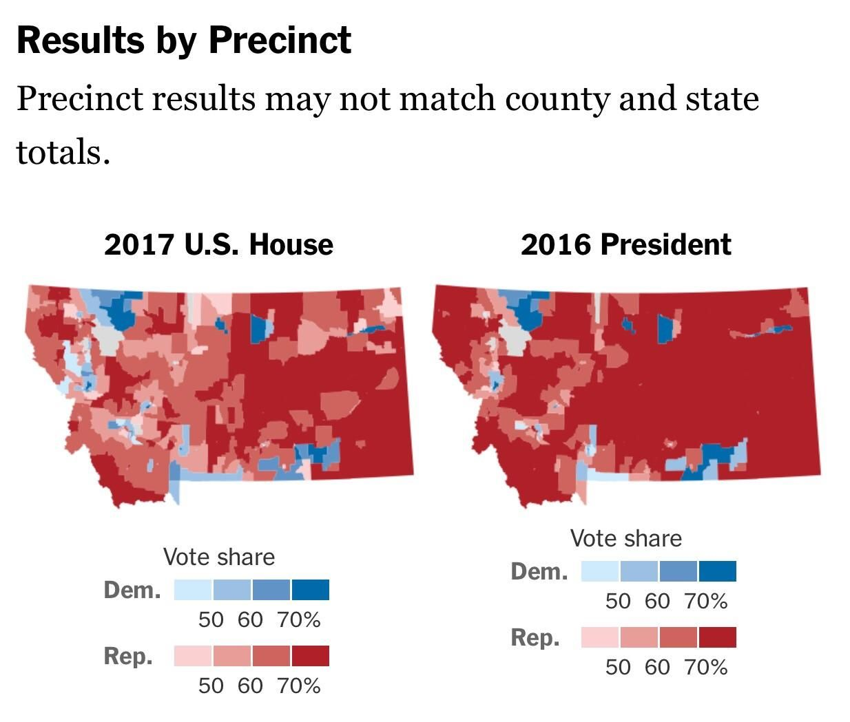 Montana Special Election Results Vs Montana Presidential - Blended map of the us election