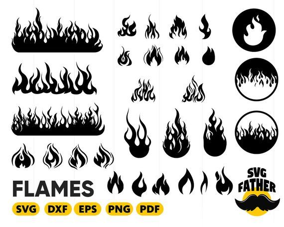 Fire silhouette. Flames svg flame calgary