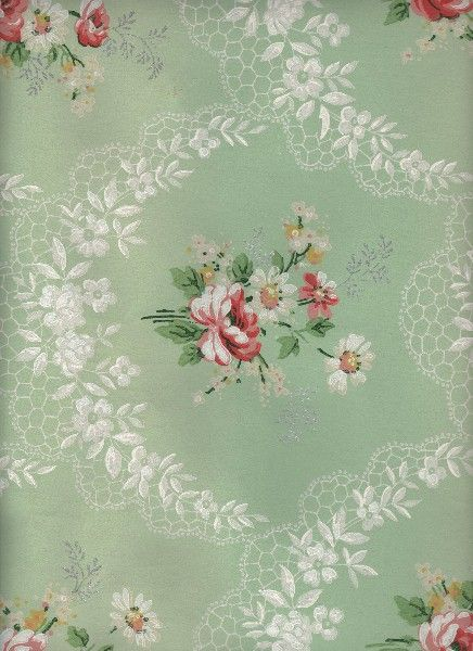 12 Vintage Wallpapers Cabbage Roses And More Green Floral Wallpaper Vintage Floral Wallpapers Wallpapers Vintage