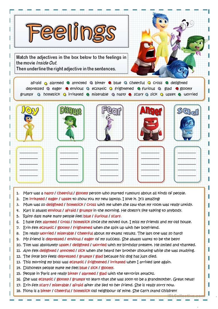 Inside Out Feelings And Emotions Worksheet Free Esl Printable