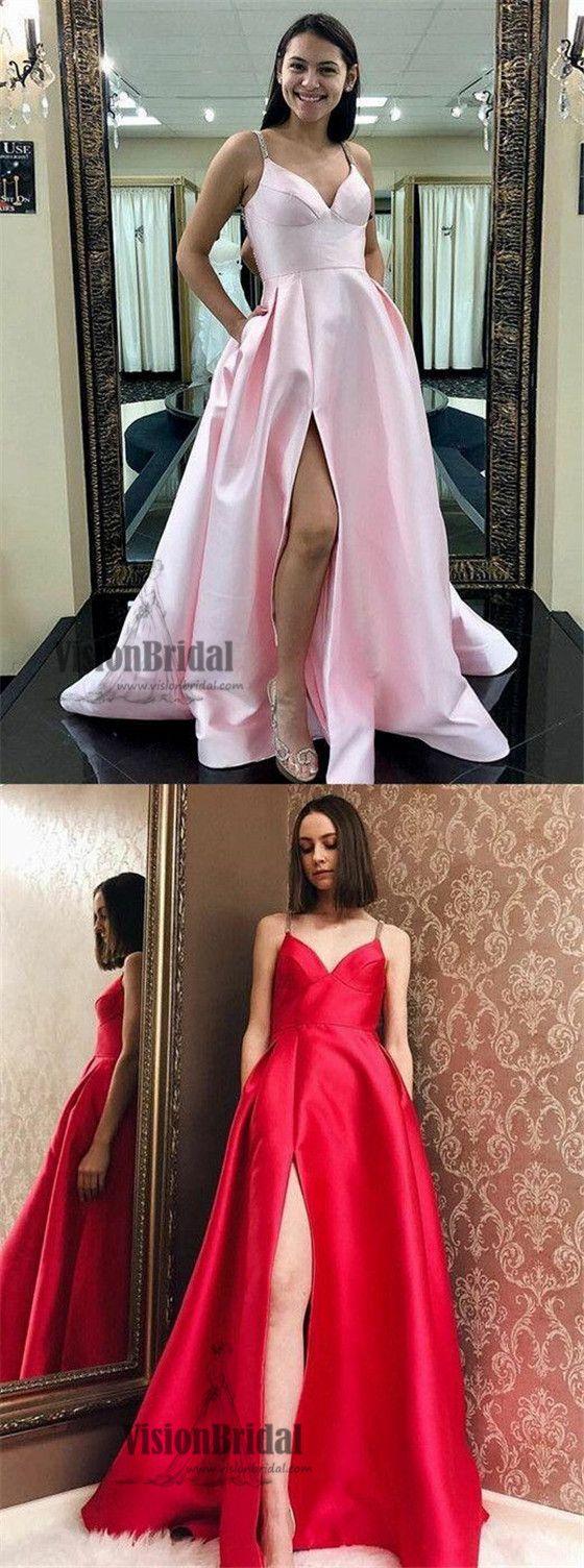 Sexy spaghetti straps side slit aline long satin prom dress prom