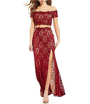 4a9da7282ef Sequin Hearts Off The Shoulder Glitter Lace Two-Piece Long Dress ...