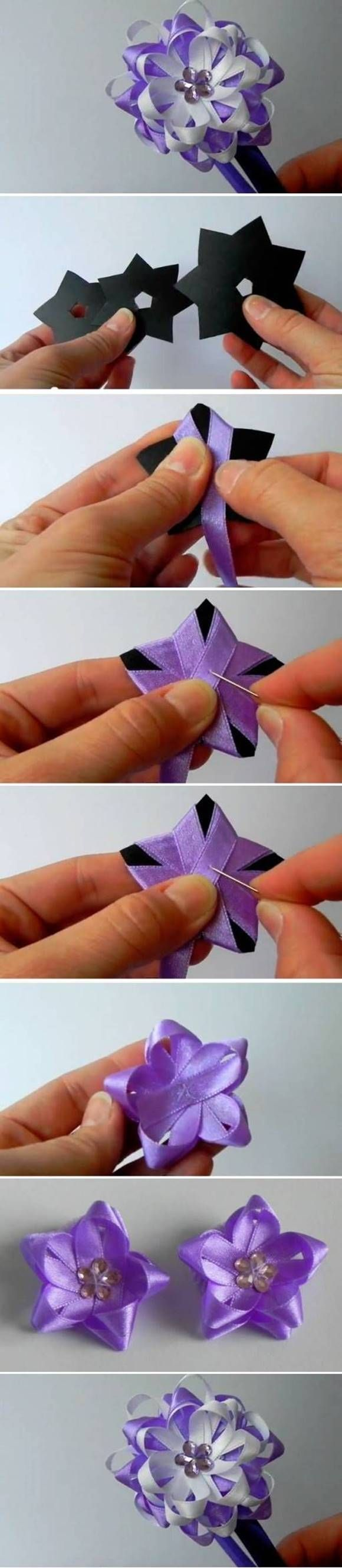 How To Diy Easy Ribbon Flower Bow In 2018 Ribbon Work Pinterest