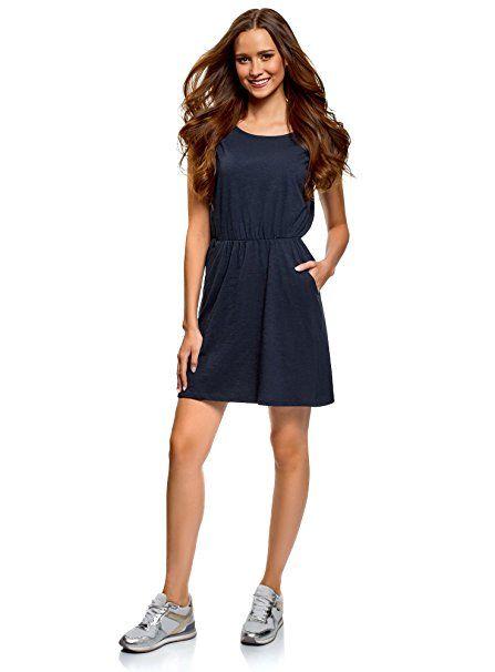 15f4194a00d5a9 oodji Ultra Damen Jerseykleid mit Gummizug in der Taille, Blau, DE 32 / EU