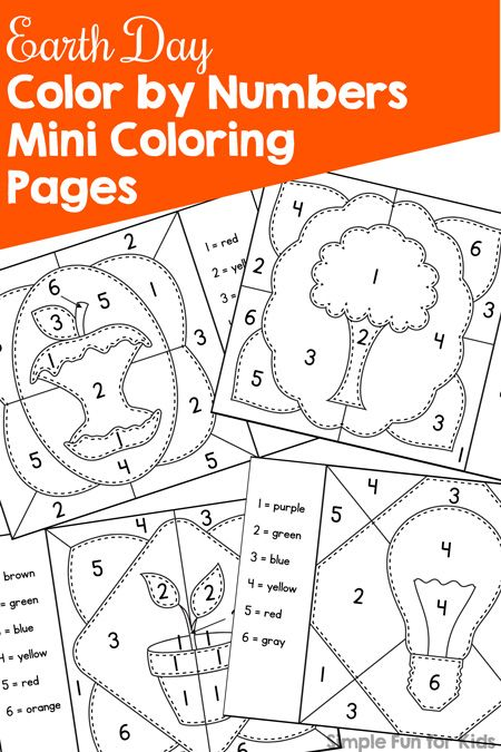 earth day color by numbers mini coloring pages - Coloring Pages Kindergarteners