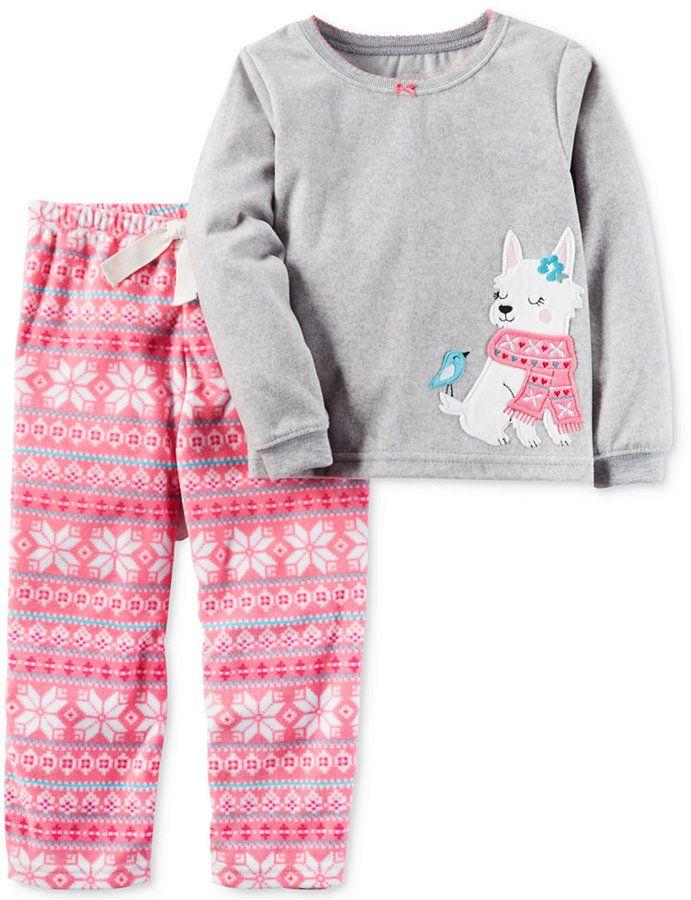 Carter's 2-Pc. Fair Isle Dog Pajama Set, Toddler Girls (2T-4T ...