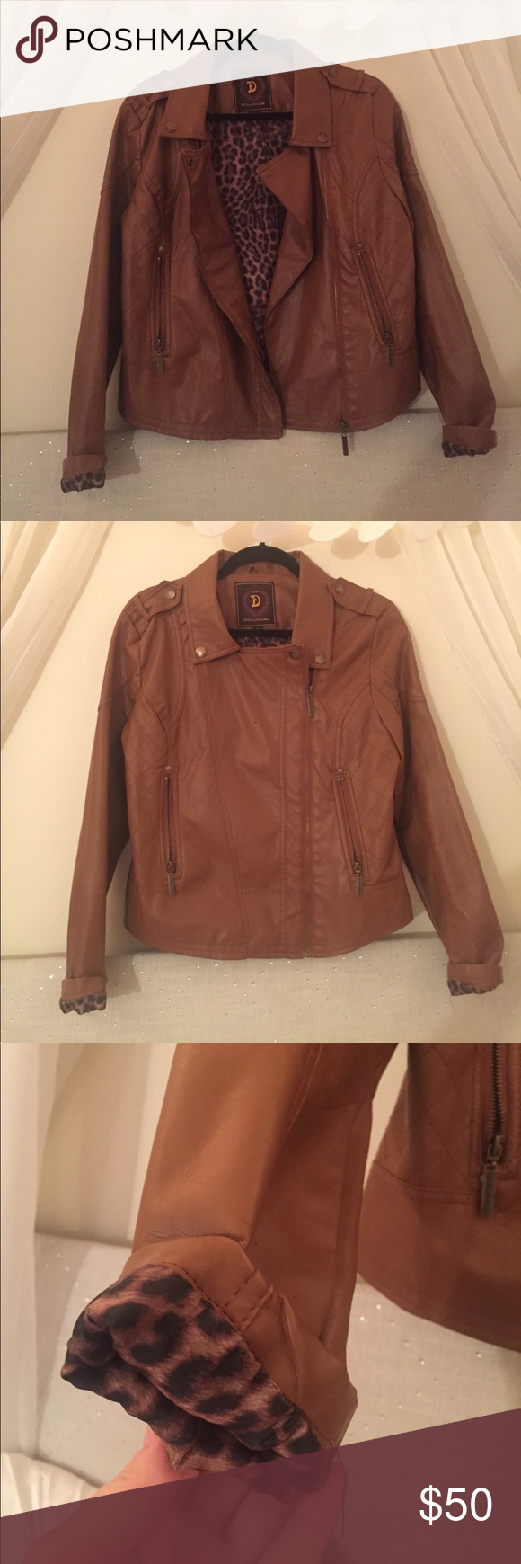 Dollhouse Faux Brown Leather Jacket (Large) Leather