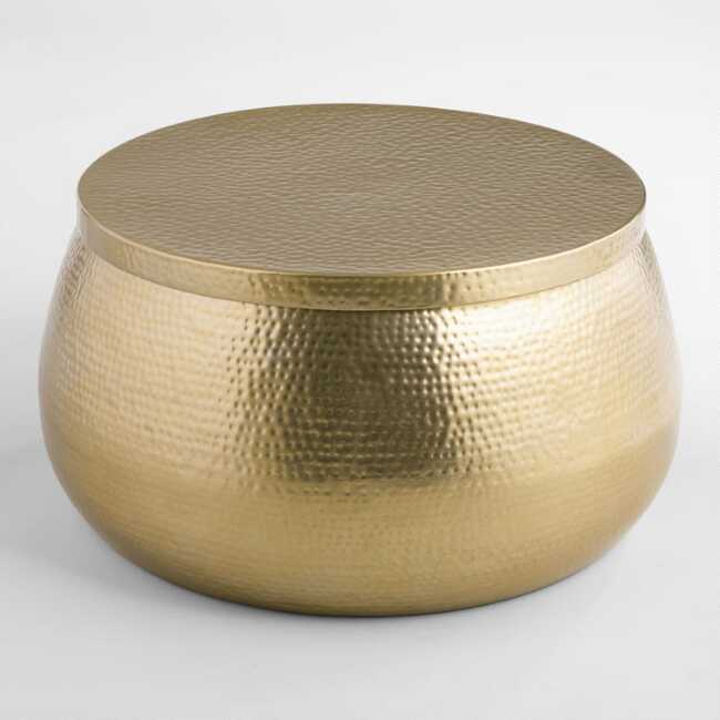 Gold Hammered Metal Cala Coffee Table Hammered Coffee Table