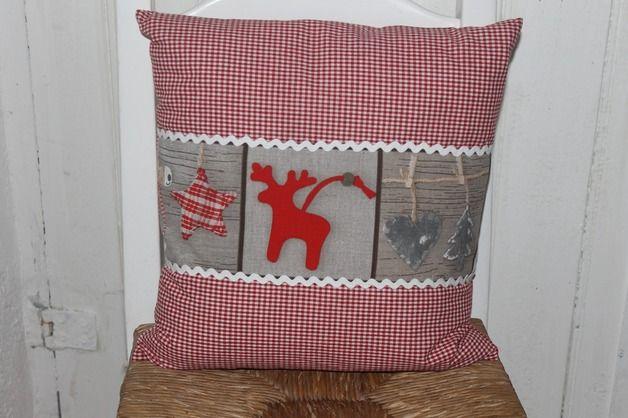 kissen kissenbezug kleiner elch rot karriert ein designerst ck von fraeulein froehlich bei. Black Bedroom Furniture Sets. Home Design Ideas