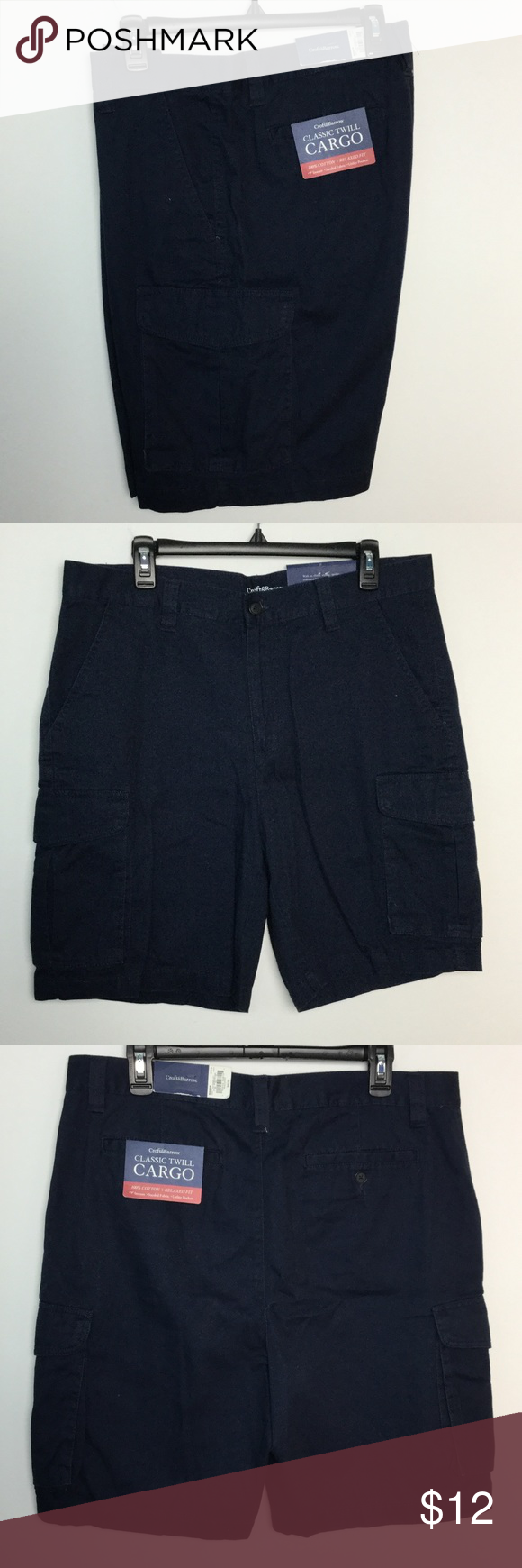 "Men's Croft & Barrow 32 Navy Blue Cargo Shorts NWT NWT new with tags retail price $40 Men's size 32 Croft & Barrow  Solid Navy Blue 6 pockets 9"" inch inseam cargo utility Carpenter  4 bin 14 croft & barrow Shorts Cargo"