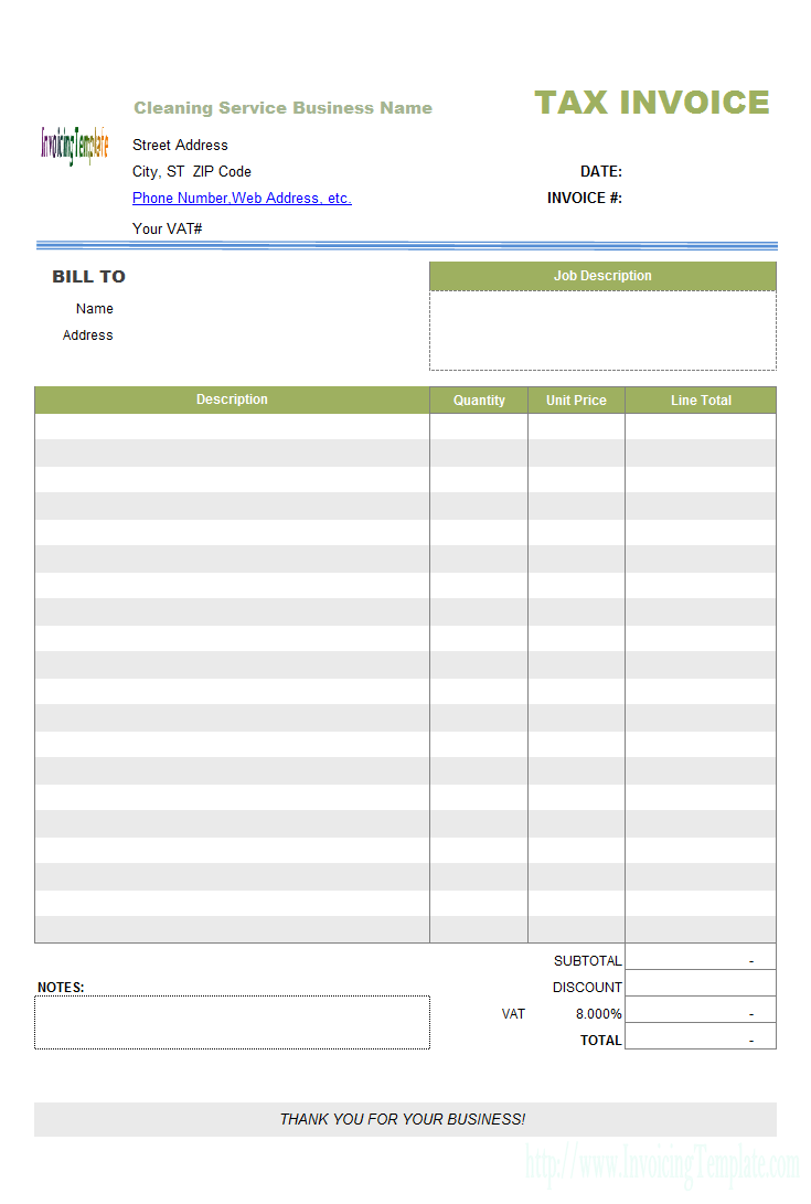 Cleaning Service Invoice Template Invoice Example Invoice Template Invoice Sample