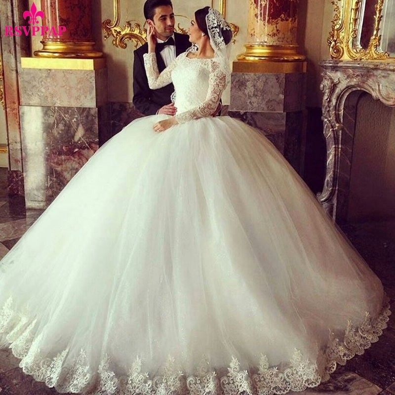 Ivory Ball Gown Long Sleeve Muslim Arabic Bridal Dresses Islamic Wedding Gowns Arab Hijab Dress