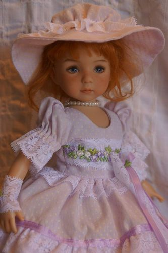 """13"""" Effner Little Darling Lilac Lace Ensemble by Ladybugs Doll Designs   eBay. Starting bid is fifty-two dollars. Auction ends 4/27/13."""