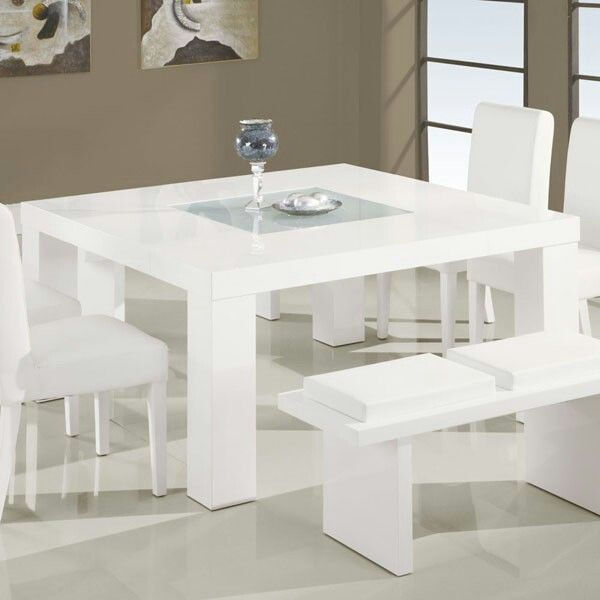 All White 8 Seater Dining Table White Glass Dining Table White Dining Room Table White Dining Table