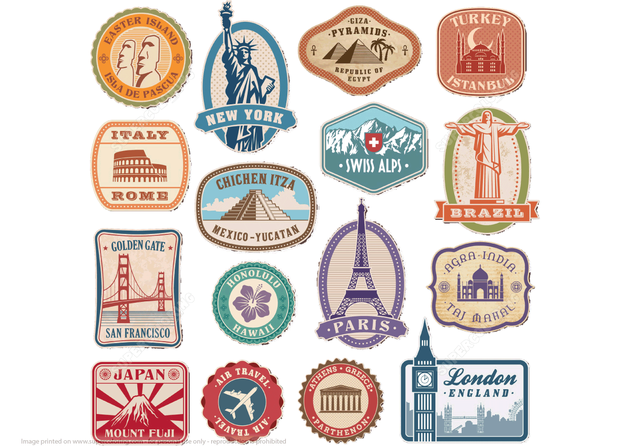 Printable Vintage Travel Stickers Free Printable Papercraft Templates Travel Stickers Sticker Paper Crafts Travel Stickers Printable