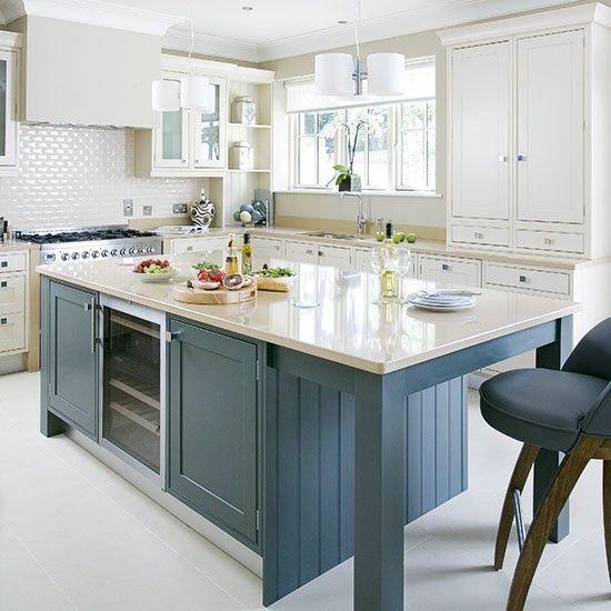 Painted Island Kitchen Traditional Kitchens Kitchen Design