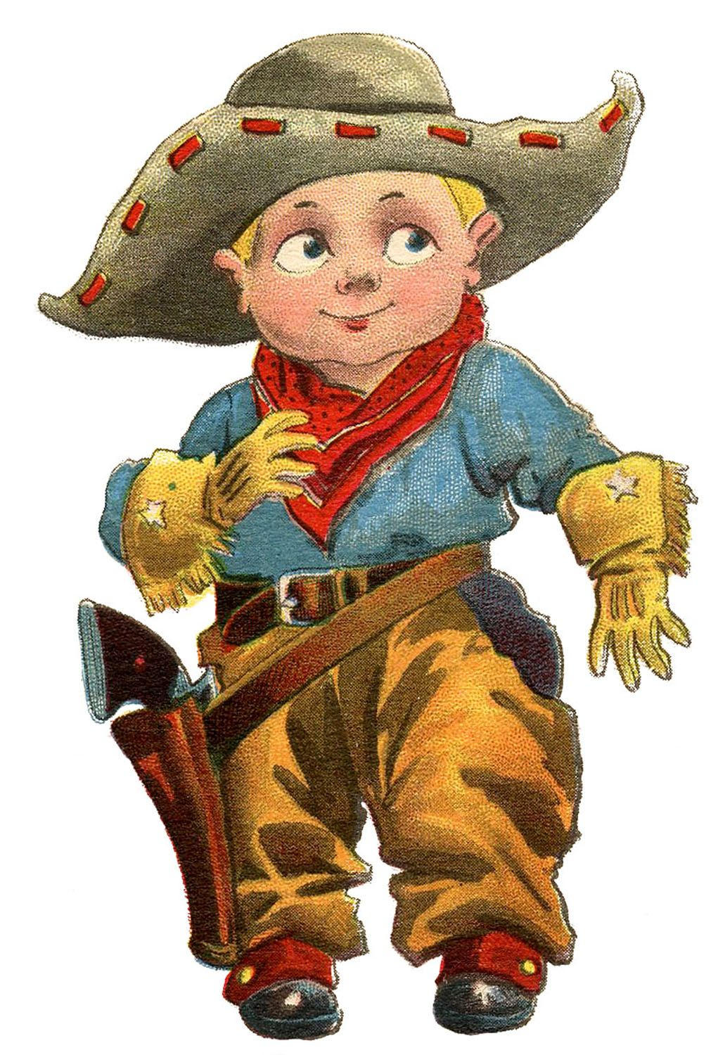 Vintage Clip Art - Cute LIttle Cowboy | Dress up, Vintage and Count