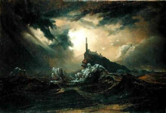 Carl Blechen - stormy sea with lighthouse