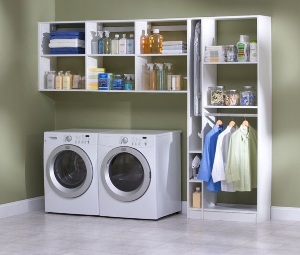 Neatly arranged laundry room latest shelving organizing for Utility room shelving ideas
