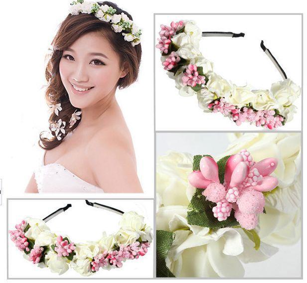 Bridal Flower Crown Headband Wedding Prom Beach Floral Garland Wreath Wedding