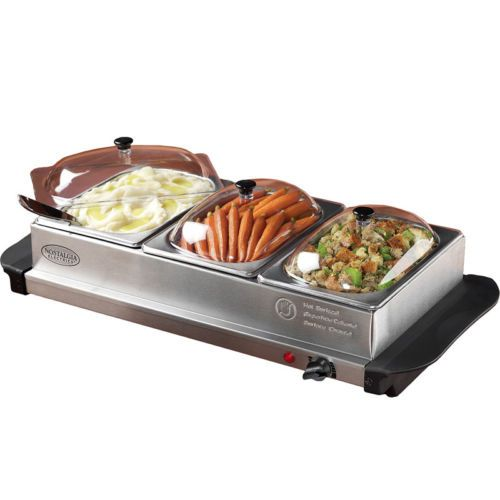 Stainless Steel Buffet Server Food Warmer Tray 3 Station Heated