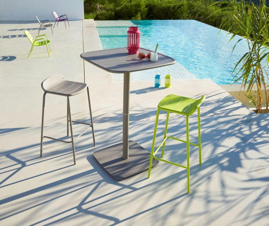 Table Et Chaise Bar Exterieur Gris Vert Gamme Hyba Acier 151 Table De Jardin Table Et Chaises Mobilier Jardin