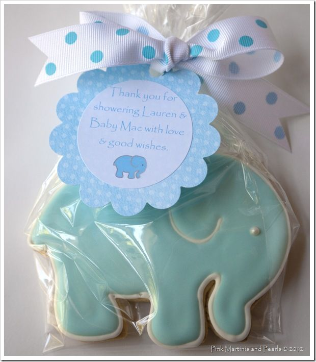 Baby Elephant Cookies For A Baby Shower- Pink Martinis And
