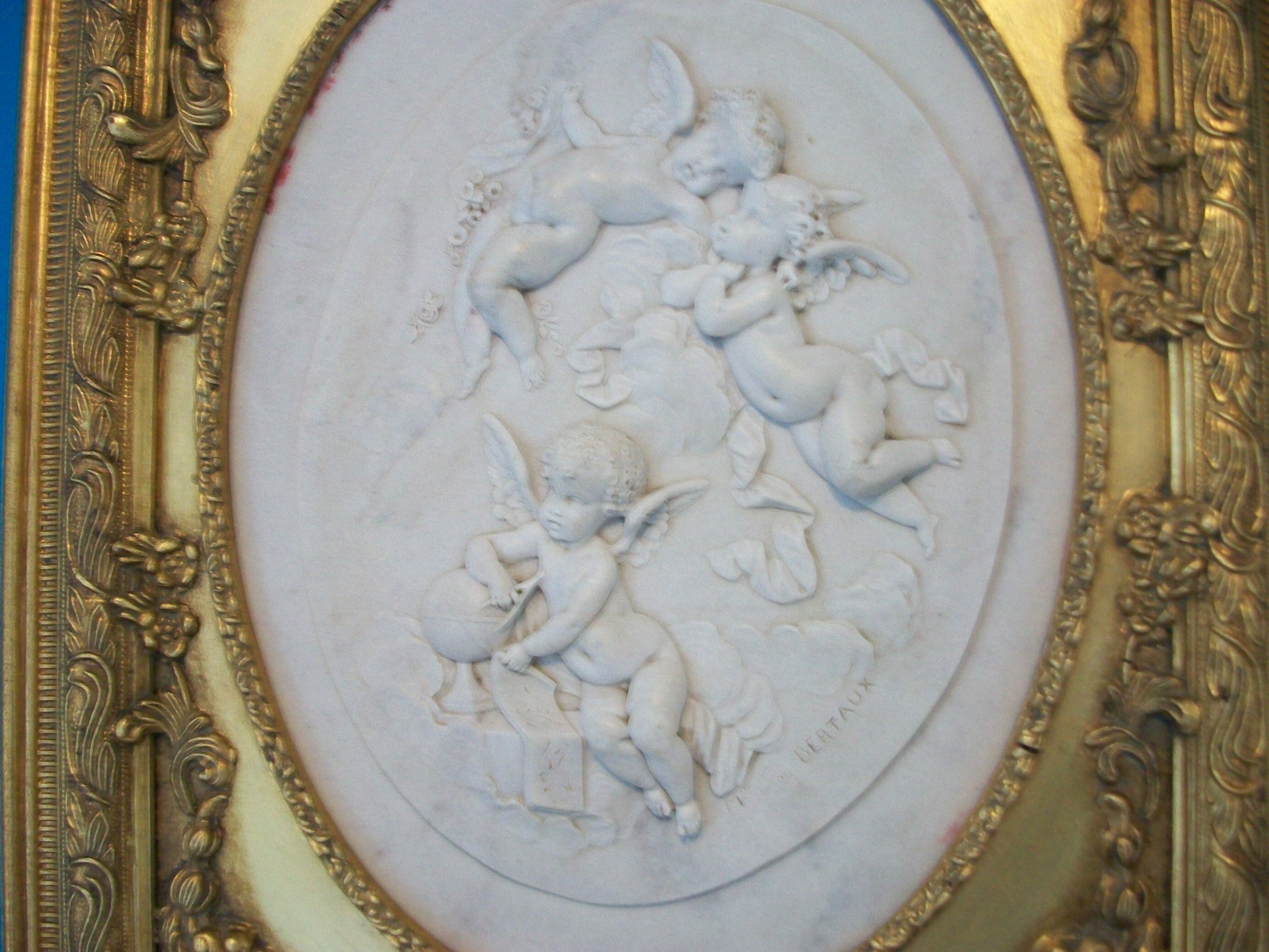 Other Architectural Antiques Architectural & Garden Smart Cherub Vintage French Picture In Porcelain White Frame Amazing Detail