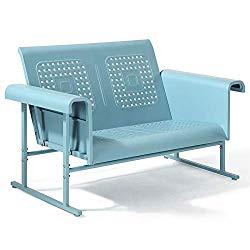 Crosley Furniture Veranda Patio Gliding Loveseat In Caribbean Blue Patio Furniture In 2019 Outdoor Loveseat Patio Loveseat Outdoor Glider