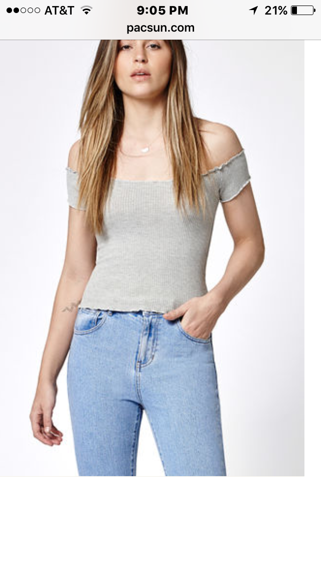 6372a40cef70d5 Hooked on Cropped Off-The-Shoulder Top that I found on the PacSun App