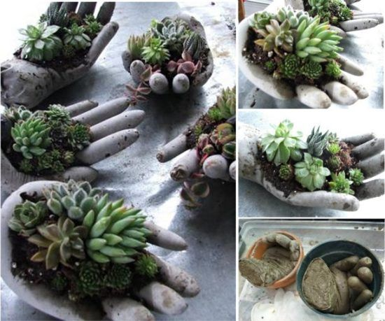 Cement Garden Art: How To Make Cement Hand Planters For Your Garden