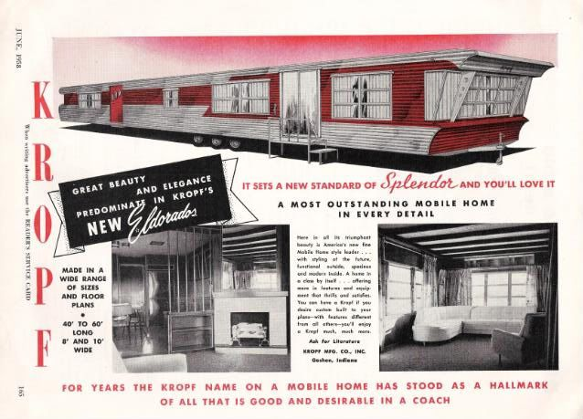 Image Detail For Original 1958 Kropf Mobile Home Rv Trailer Photo Ad Mobile Home Vintage Travel Trailers Vintage Trailers