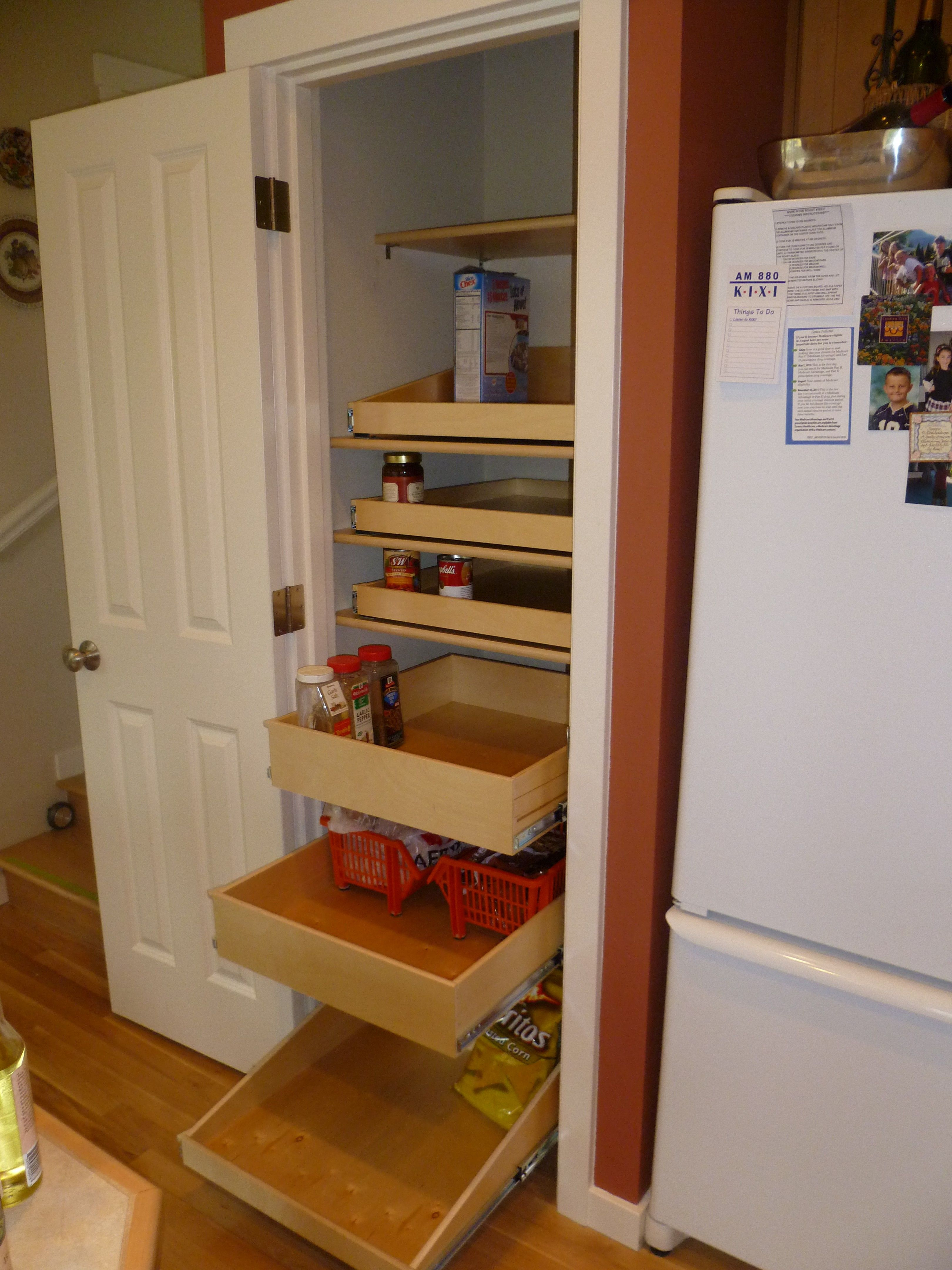 Storage Racks And White Stained Wooden Frame Pantry With ...