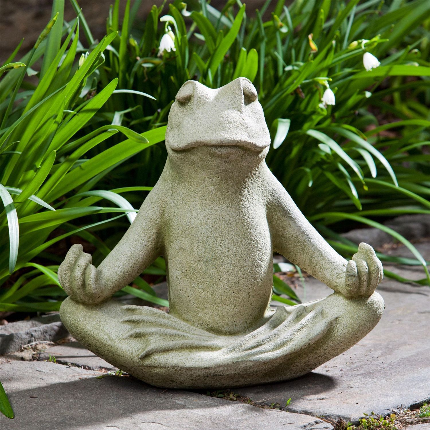 Meditating Frog Cast Stone Garden Statue In Verde Green Color   Made In USA