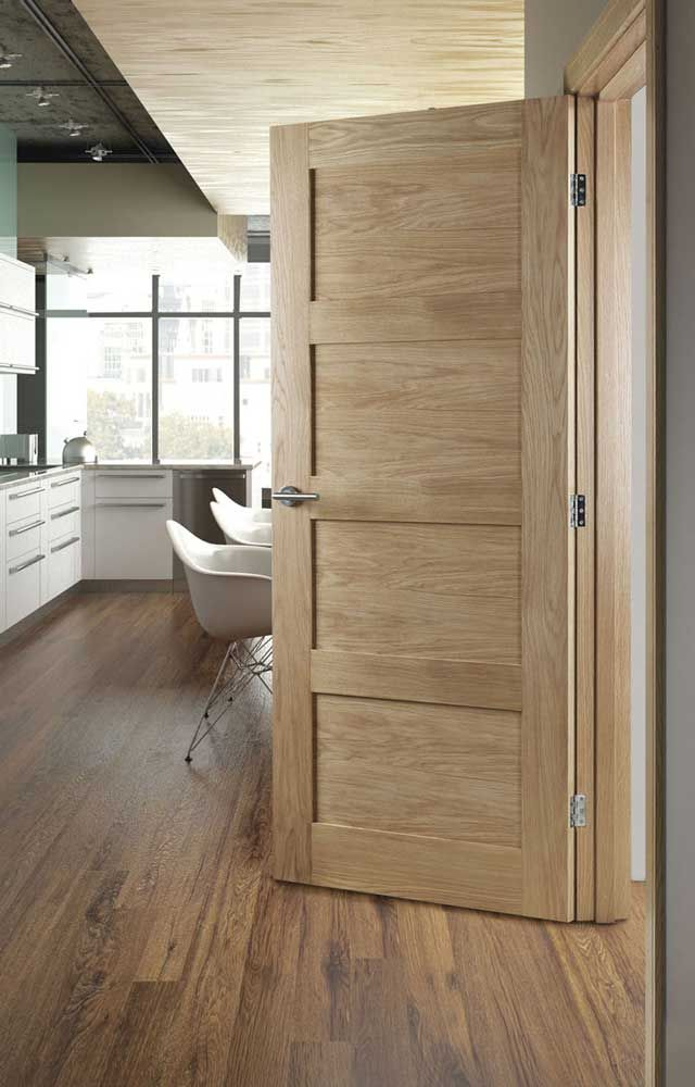 Oak Coventry Contemporary 4 Panel Internal Door White Interior