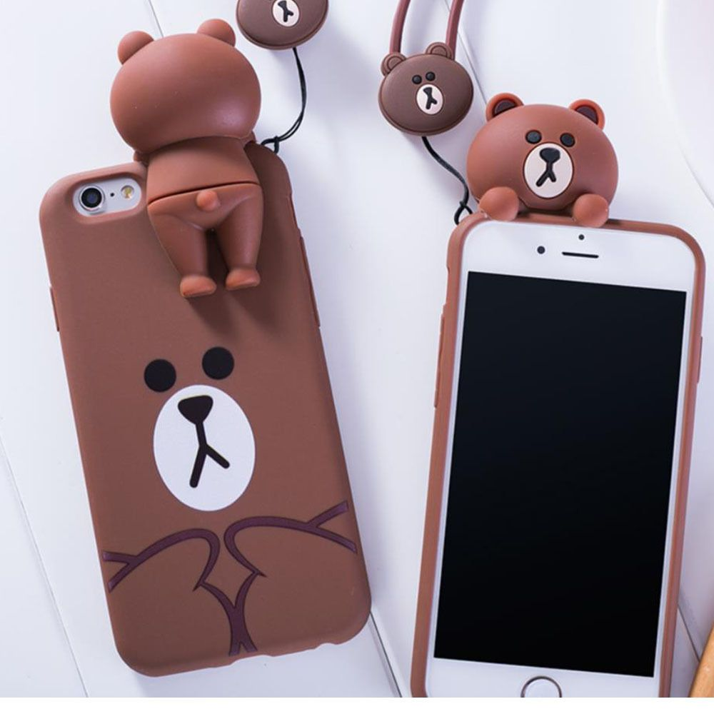 58c4ac084ff Line Friends Brown Sillicone Case for i phone 6,7, Plus  linefriends ...