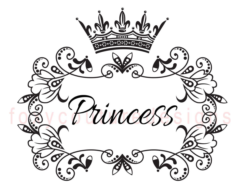 Royal princess coloring pages - Princess With Crown Vintage Large Image Word Digital Image Download Sheet Transfer To Pillows Totes Tea Towels Burlap No 9