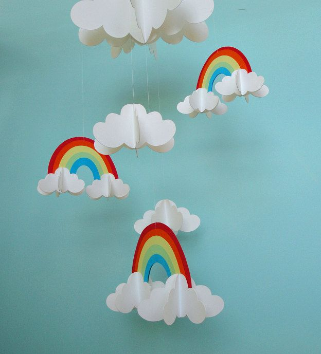 Marvelous Rainbows and Clouds D Hanging Baby Mobile D Paper Mobile Nursery Mobile
