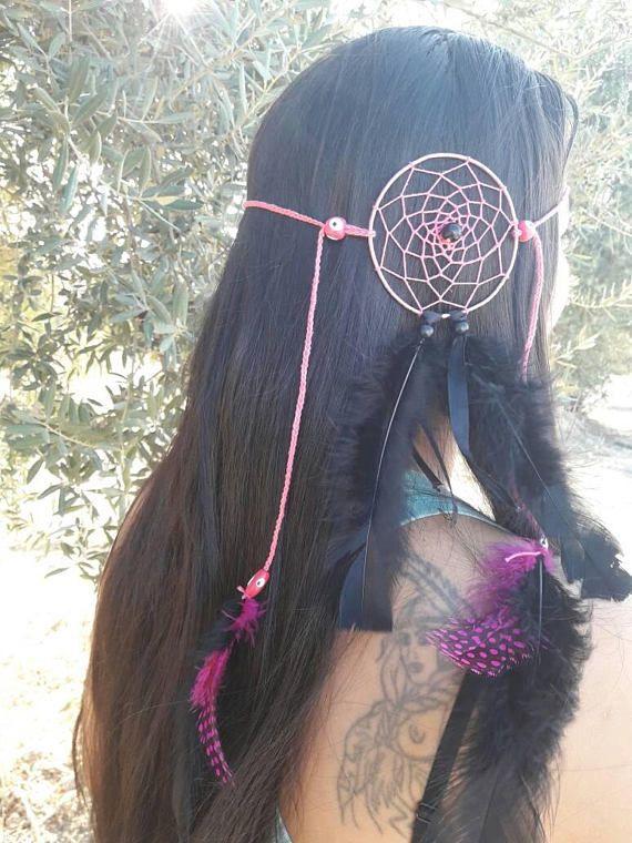Headband dreamcatcher, hippie headband, feather lover, hair jewerly ...