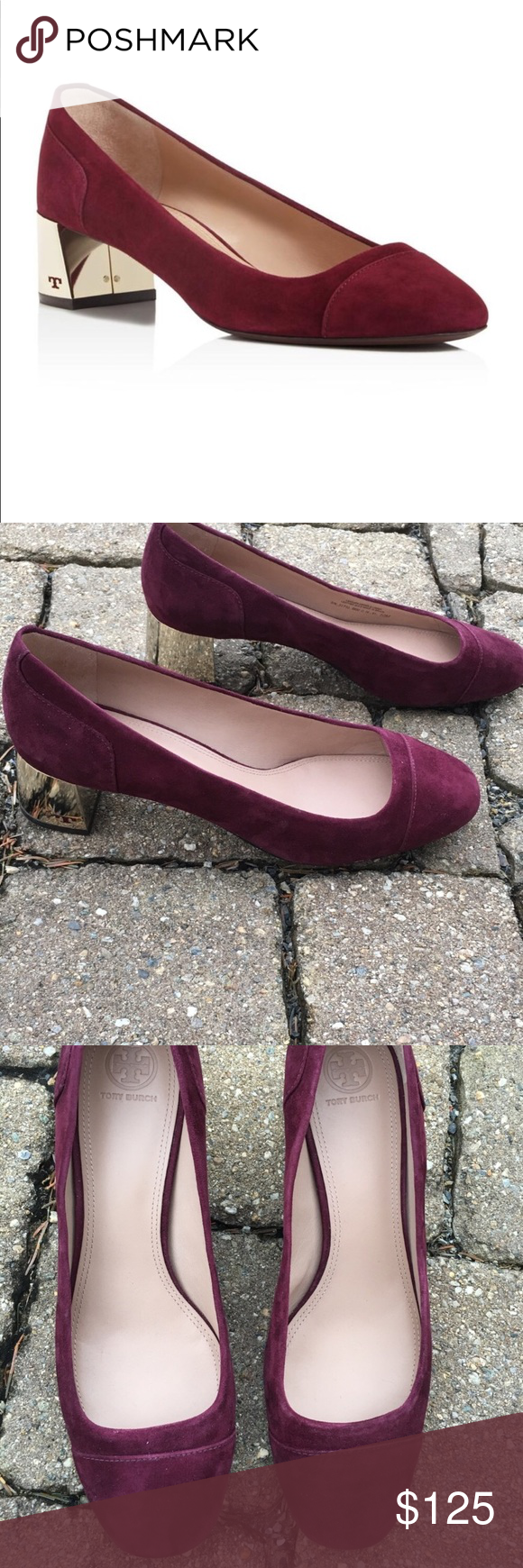 1a7c147079d Tory Burch Evelyn with Suede Block Heel Tory Burch Evelyn with Suede Block  Heel in Excellent Like New Condition. Port wine color Tory Burch Shoes Heels