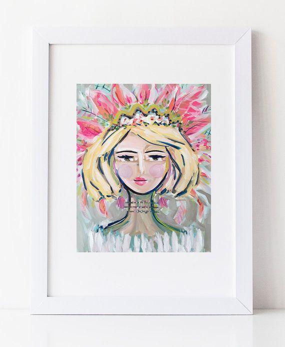 Woman Print portrait impressionist modern by Marendevineart