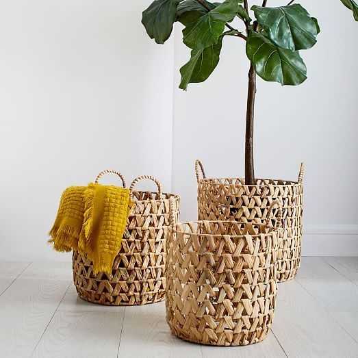 Open Weave Zigzag Baskets - Natural