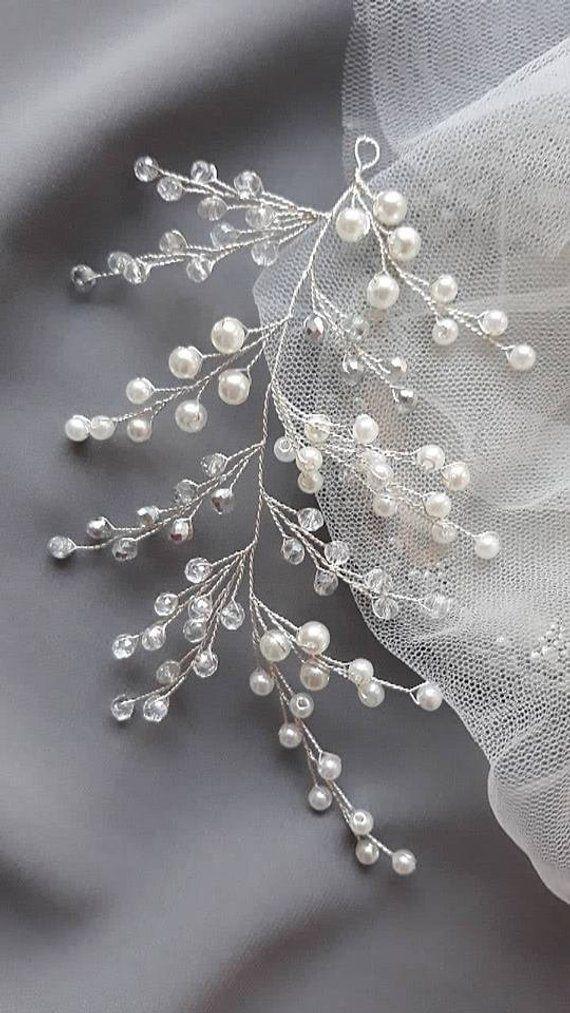 Photo of Bridal hair vine Wedding hair accessories Bridal HeadpiecemCrystal hair vine Wedding unique hair piece Wedding hair piece Swarovski pearls