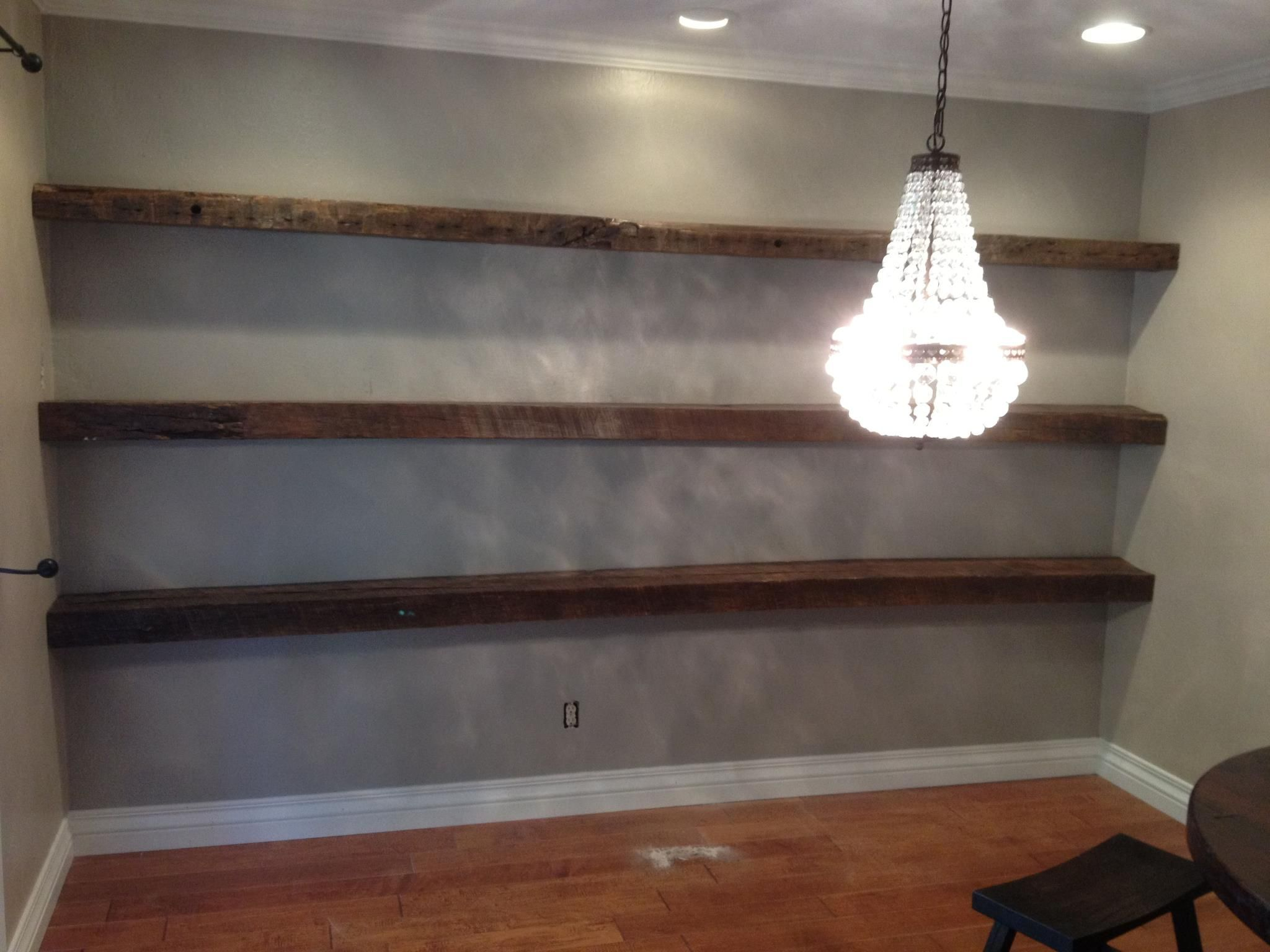 Reclaimed White Oak Floating Shelves
