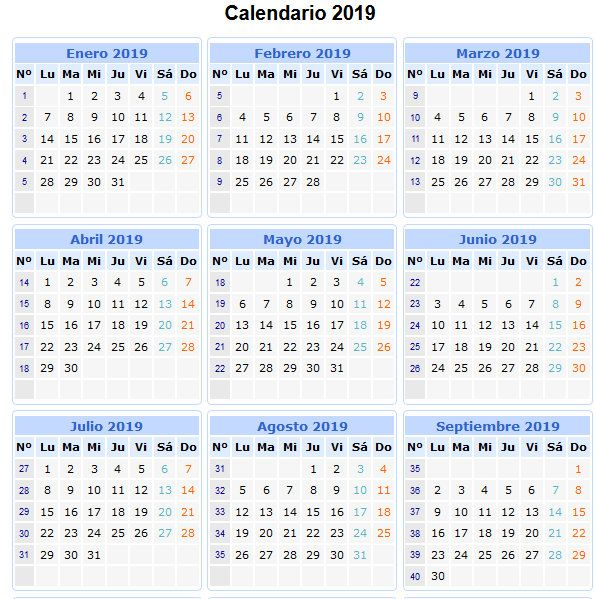 28 Calendarios 2019 Imprimibles Para Descargar Calendario Calendario Semana Calendario Por Semana