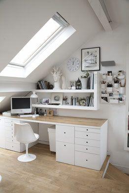 White Workspace Zuhause Dachzimmer Und Wohnen