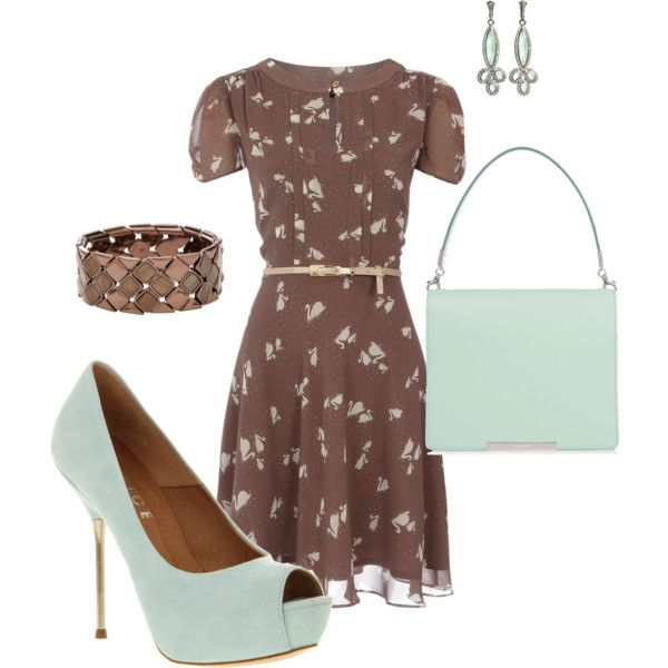 Brown and mint, created by adrienne-strunk on Polyvore