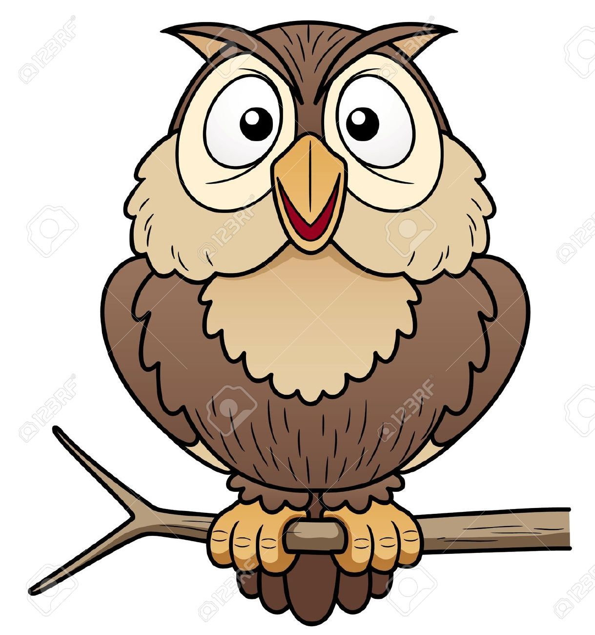 17813680 illustration of cartoon owl sitting on tree for A cartoon owl
