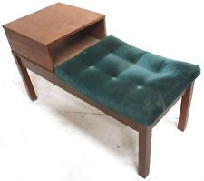 VINTAGE TEAK VERDE IMBOTTITO TELEFONO tabella Retrò XX SECOLO Furniture